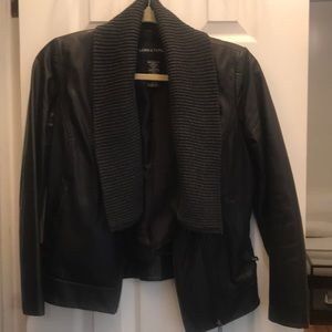 Jackets & Blazers - Leather jacket with wool shawl detail